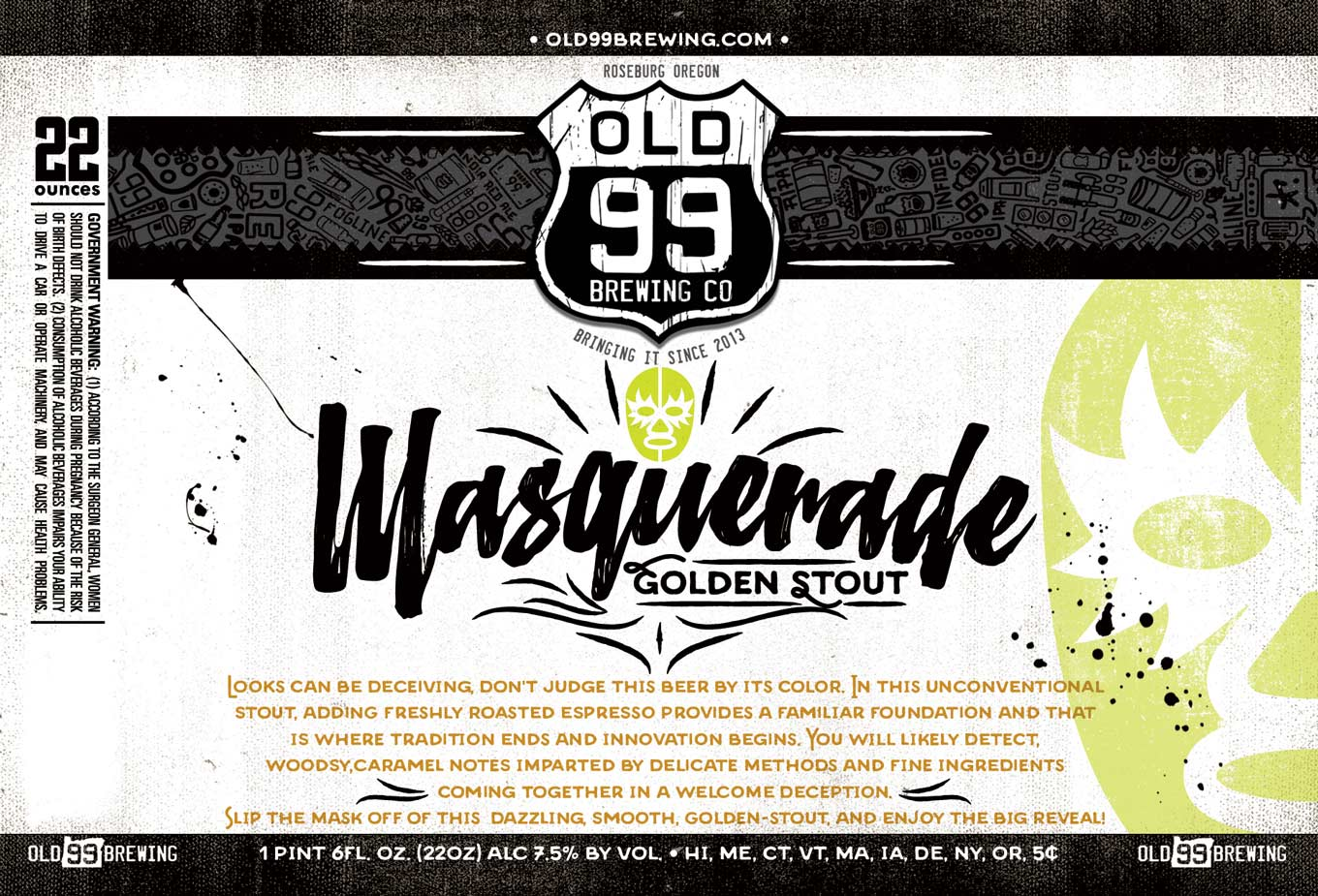 Masquerade Golden Stout Label